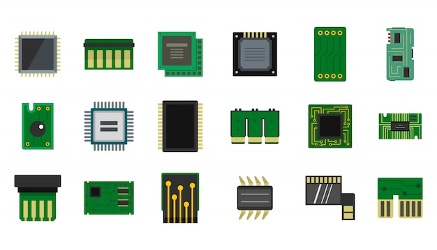 Set di icone di micro chip. insieme piano della raccolta delle icone di vettore del microcircuito isolata