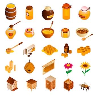 Set di icone di miele. set di miele isometrico