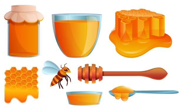 Set di icone di miele, stile cartoon