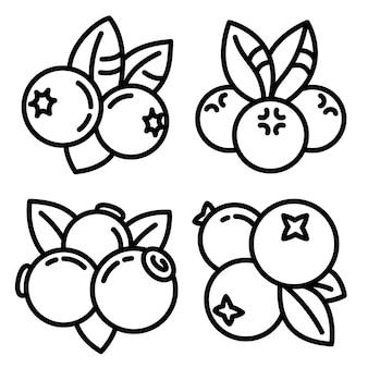 Set di icone di mirtillo, struttura di stile