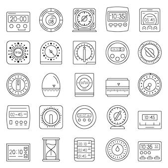 Set di icone di misura del tempo. insieme del profilo delle icone di vettore di misura di tempo