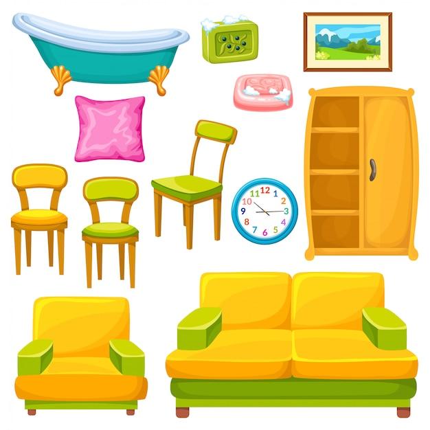 Set di icone di mobili.