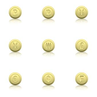 Set di icone di monete d'oro con la riflessione.