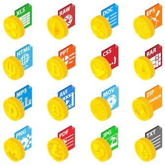 Set di icone di monete di espansione, stile isometrico