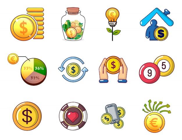 Set di icone di monete. l'insieme del fumetto delle icone di vettore delle monete ha messo isolato