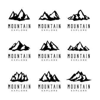 Set di icone di montagna isolato su sfondo bianco.