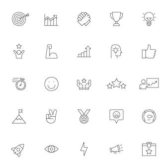 Set di icone di motivazione con contorno semplice