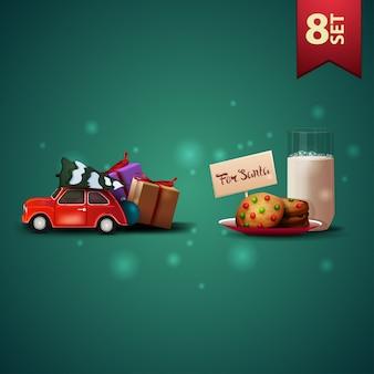 Set di icone di natale 3d, auto d'epoca rossa che trasportano albero di natale e biscotti con un bicchiere di latte per babbo natale
