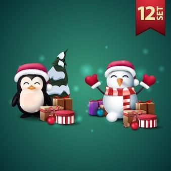 Set di icone di natale 3d, pinguino in cappello di babbo natale con regali e pupazzo di neve in cappello di babbo natale con regali