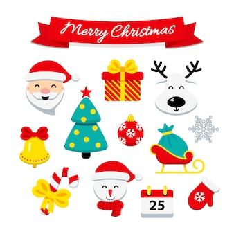 Set di icone di natale in stile piatto e saluto nastro buon natale isolato su sfondo bianco. illustrazione per stampa, web o app mobile, design di capodanno