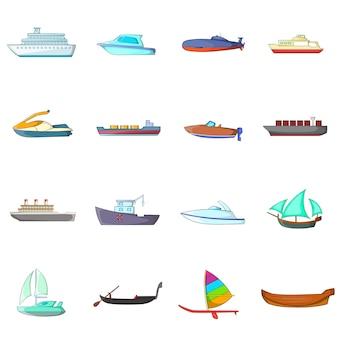 Set di icone di nave e barca