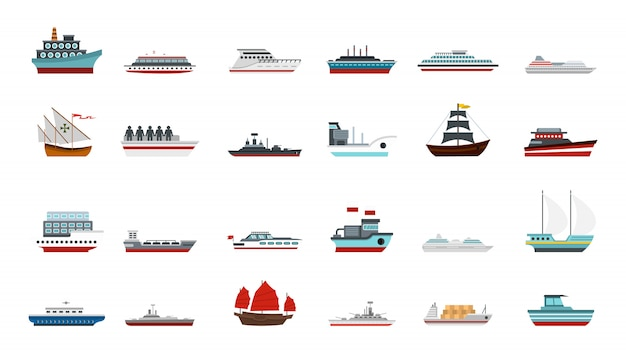Set di icone di nave. insieme piano della raccolta delle icone di vettore della nave isolato