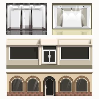 Set di icone di negozi di vetrine.