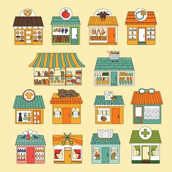 Set di icone di negozi