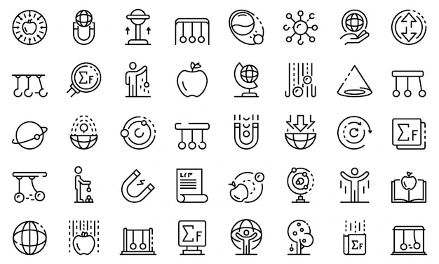 Set di icone di newton giorno