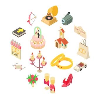 Set di icone di nozze, stile isometrico
