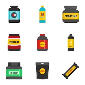 Set di icone di nutrizione sportiva. set piatto di 9 icone di nutrizione sportiva