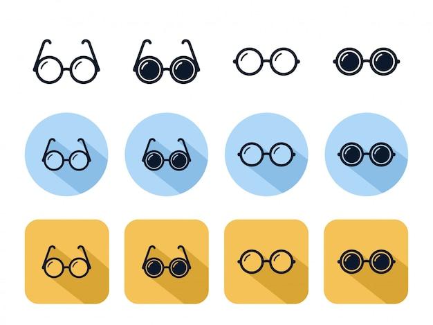 Set di icone di occhiali cerchio, accessorio lente ottica di moda