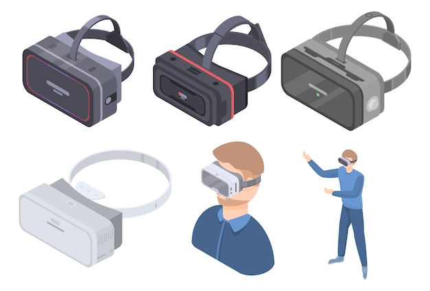 Set di icone di occhiali da gioco, stile isometrico