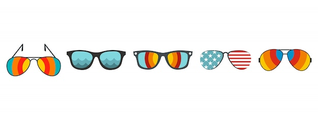 Set di icone di occhiali da sole. l'insieme piano di occhiali da sole vector la raccolta delle icone isolata