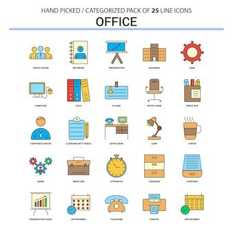 Set di icone di office linea piatta