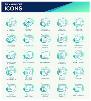 Set di icone di office seo