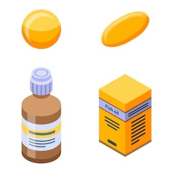 Set di icone di olio di pesce, stile isometrico