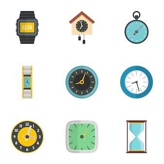 Set di icone di orologio da parete. set piatto di 9 icone dell'orologio a muro