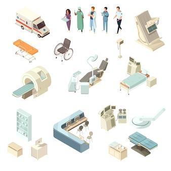 Set di icone di ospedale isometrica