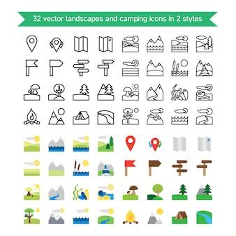 Set di icone di paesaggi e campeggio. natura e simboli itineranti.