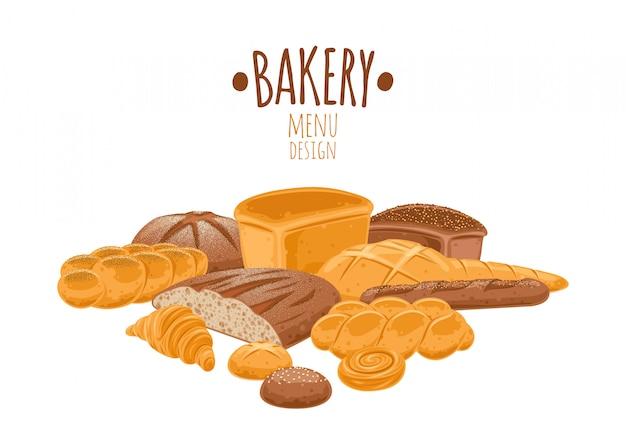 Set di icone di pane. prodotti da forno.