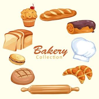 Set di icone di pane. prodotti di pasticceria da forno, pane integrale e integrale e cappello da cuoco