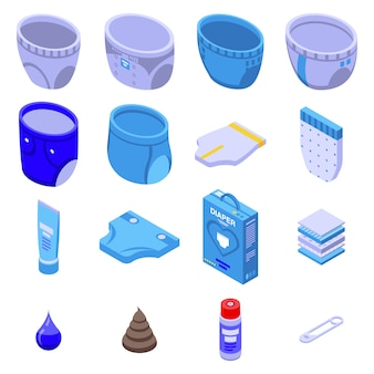 Set di icone di pannolino, stile isometrico