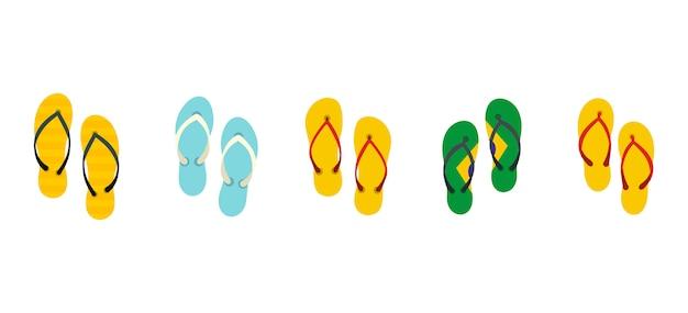Set di icone di pantofole. insieme piano della raccolta delle icone di vettore delle pantofole isolata