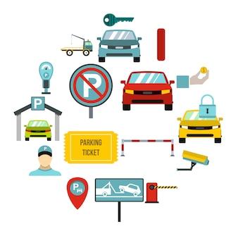 Set di icone di parcheggio, stile piano