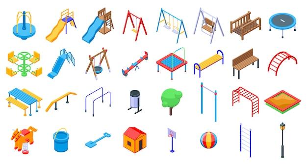 Set di icone di parco giochi per bambini