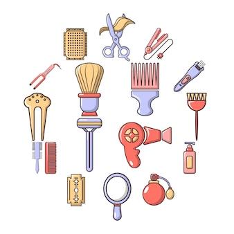 Set di icone di parrucchiere, stile cartoon