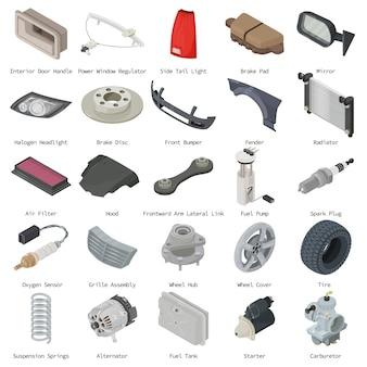 Set di icone di parti di auto. l'illustrazione isometrica di 25 parti dell'automobile vector le icone per il web