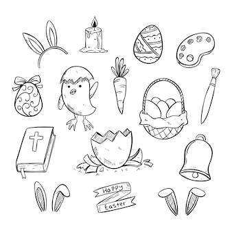 Set di icone di pasqua carino con stile disegnato a mano