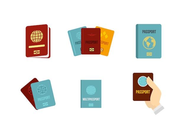 Set di icone di passaporto. insieme piano della raccolta delle icone di vettore del passaporto isolato