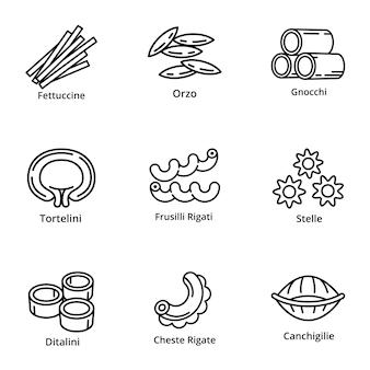 Set di icone di pasta, struttura di stile