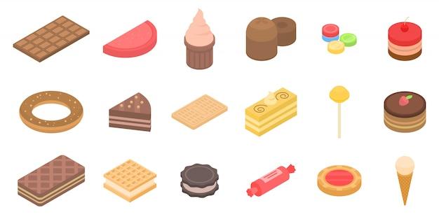 Set di icone di pasticceria, stile isometrico