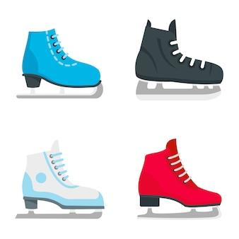 Set di icone di pattini da ghiaccio
