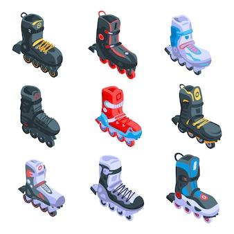 Set di icone di pattini in linea