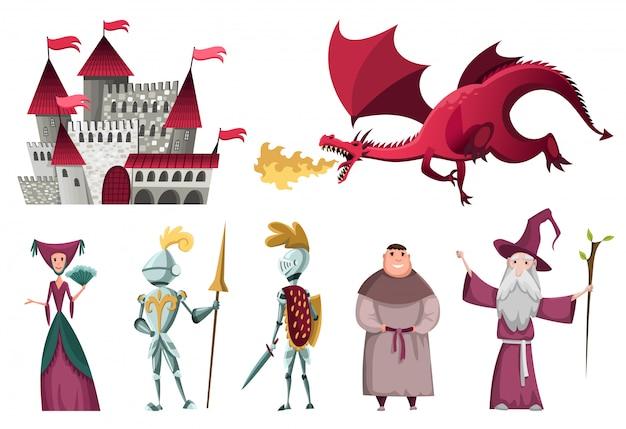 Set di icone di personaggi del regno medievale.