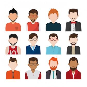 Set di icone di personaggi senza volto di persone