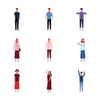 Set di icone di persone adulte in piedi