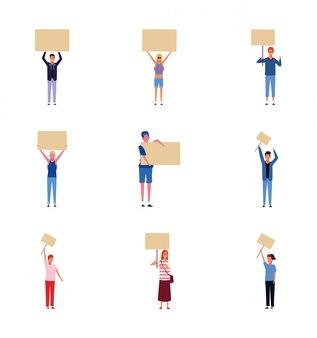 Set di icone di persone con poster in bianco