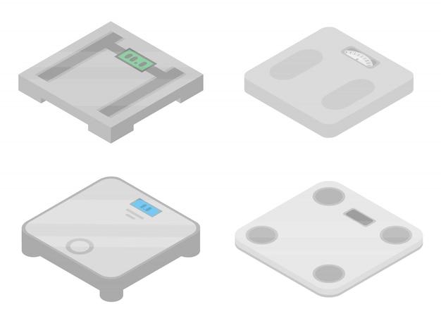 Set di icone di pesatura, stile isometrico