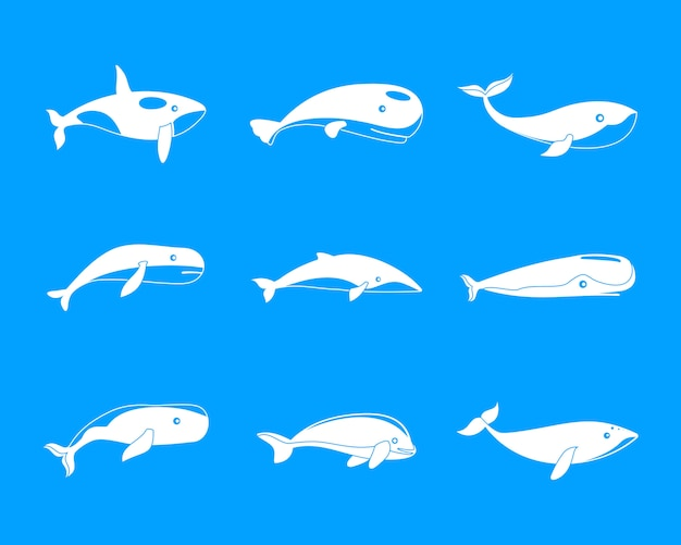 Set di icone di pesce racconto blu balena, stile semplice